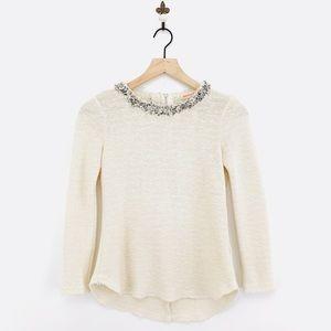 Rebecca Taylor Embellished Tweed Top Size 0 Ivory